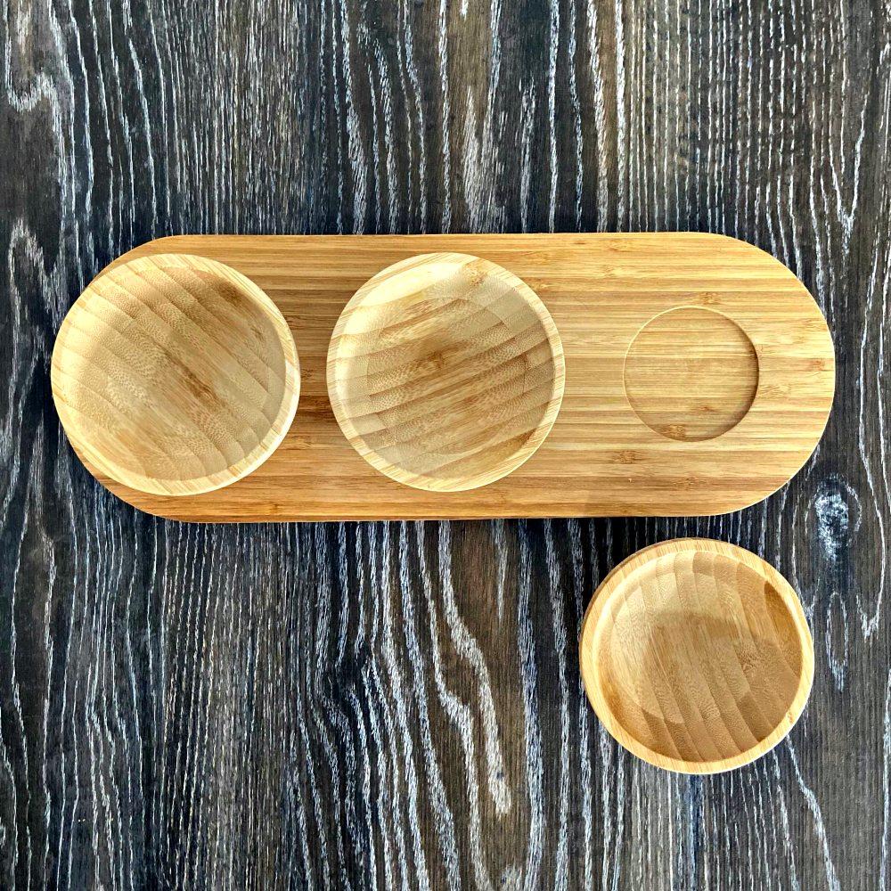 Petisqueira Para Servir De Bambu Bandeja Com 3 Bowls