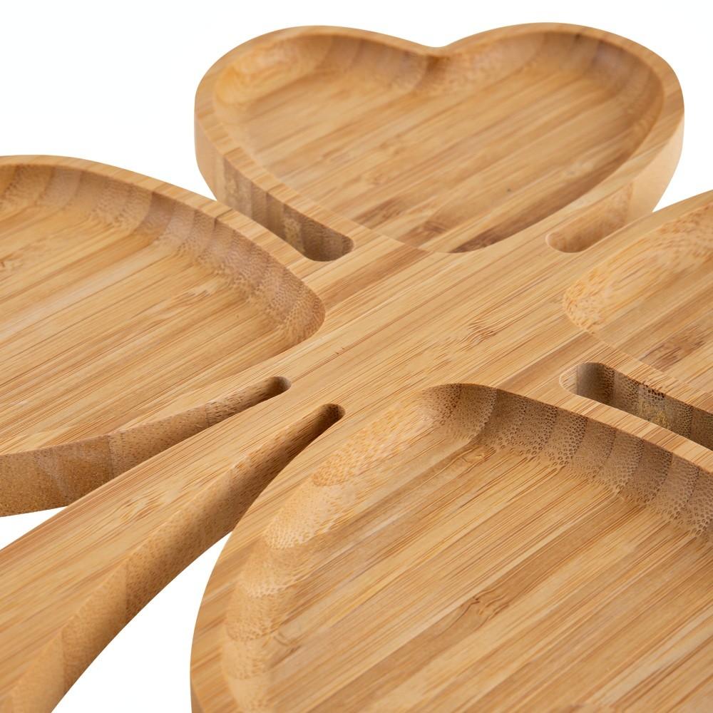 Petisqueira Para Servir De Bambu Trevo Bandeja Casa 4 Div