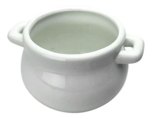 Petisqueira Vaso Mini Panela Em Cerâmica Branca