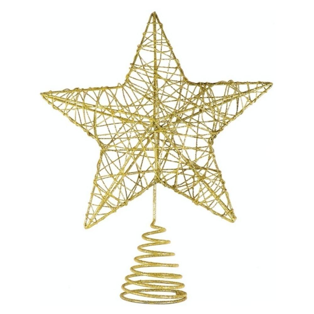 Ponteira Estrela Decoração Enfeite Árvore Natal Dourado
