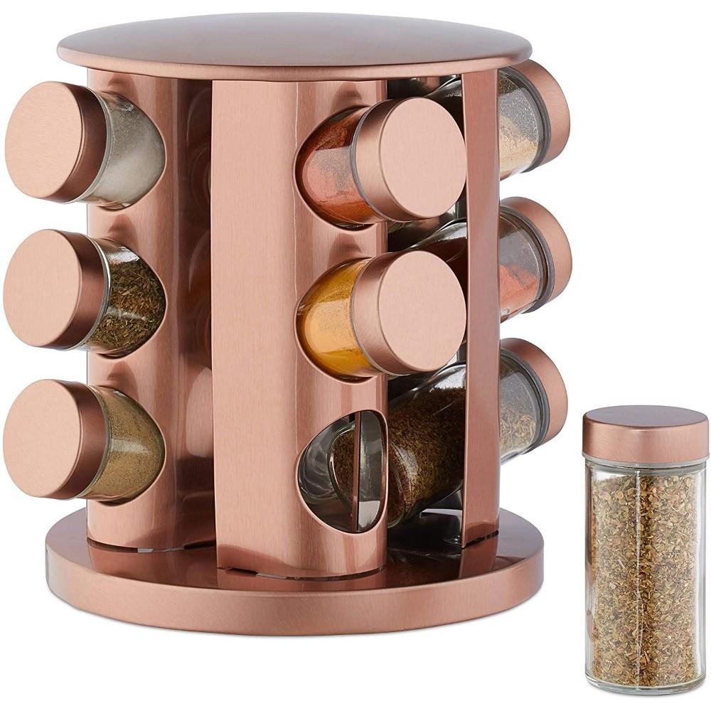 Porta Condimento De Aço Inox Rose Gold 12 Potes + Suporte