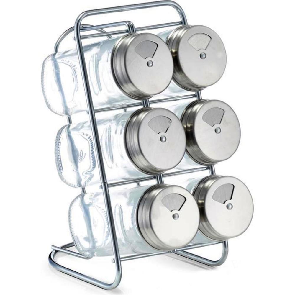 Porta Condimento De Aço Inoxidável 7 Potes 110Ml + Suporte