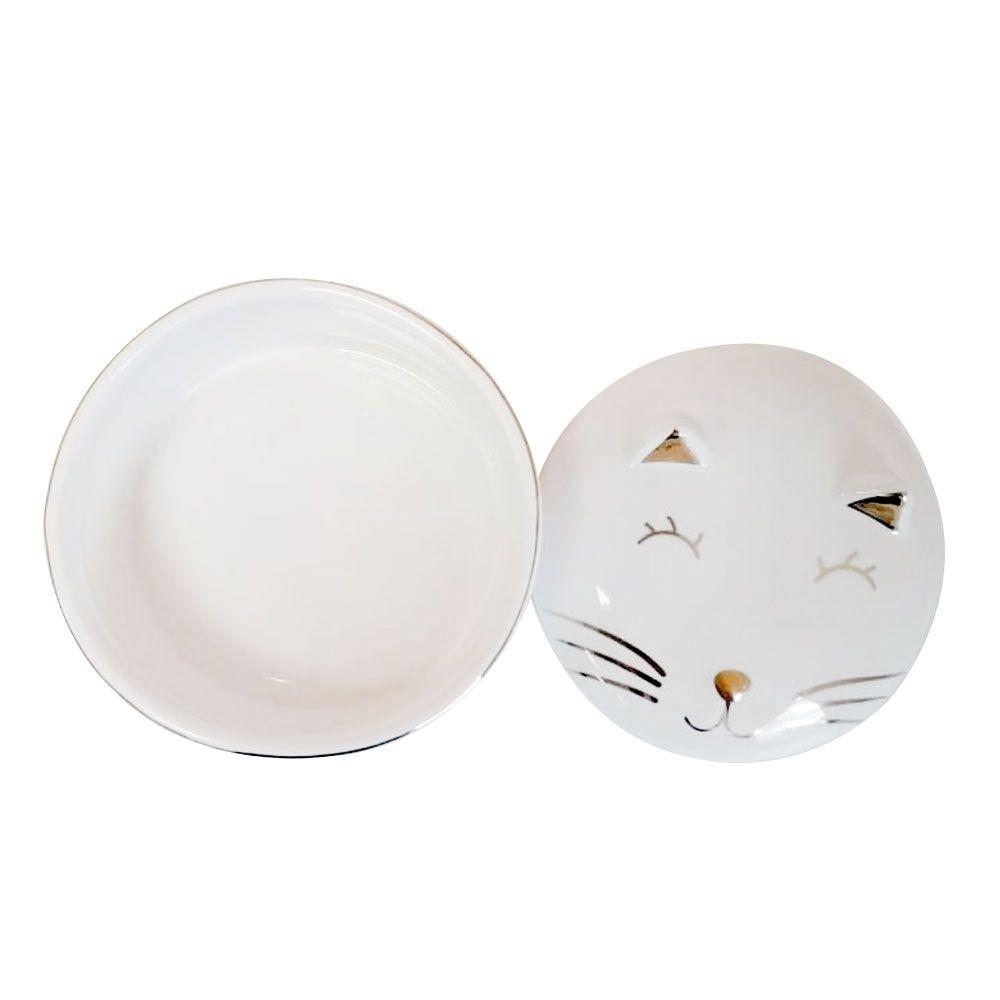 Porta Joia Decorativo Gatinho De Porcelana Redondo 10cm