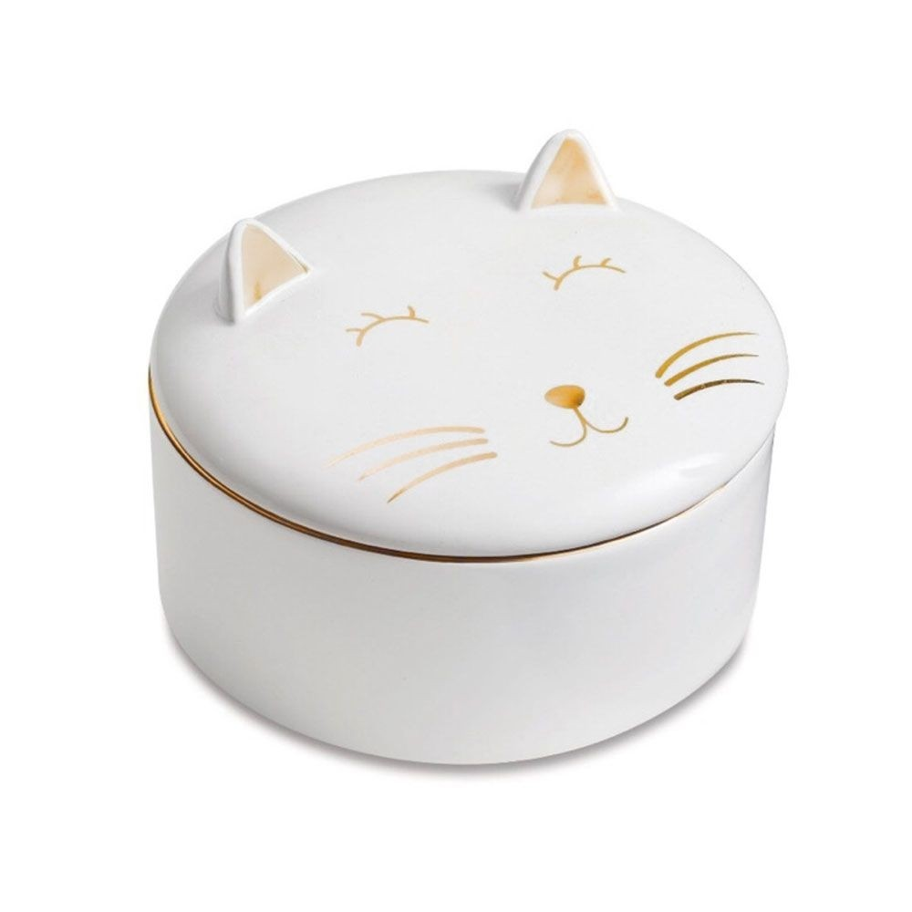 Porta Joia Treco Decorativo Gatinho De Porcelana Redondo