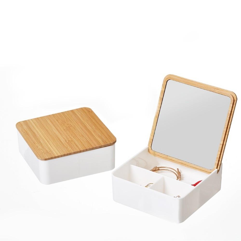 Porta-Jóias Acessórios Com Tampa De Bambu Com Espelho