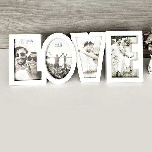 Porta Retrato Letreiro Love Para 4 Fotos Quadro Branco