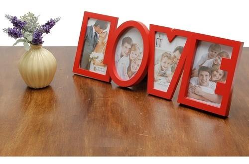 Porta Retrato Letreiro Love Para 4 Fotos Quadro Vermelho