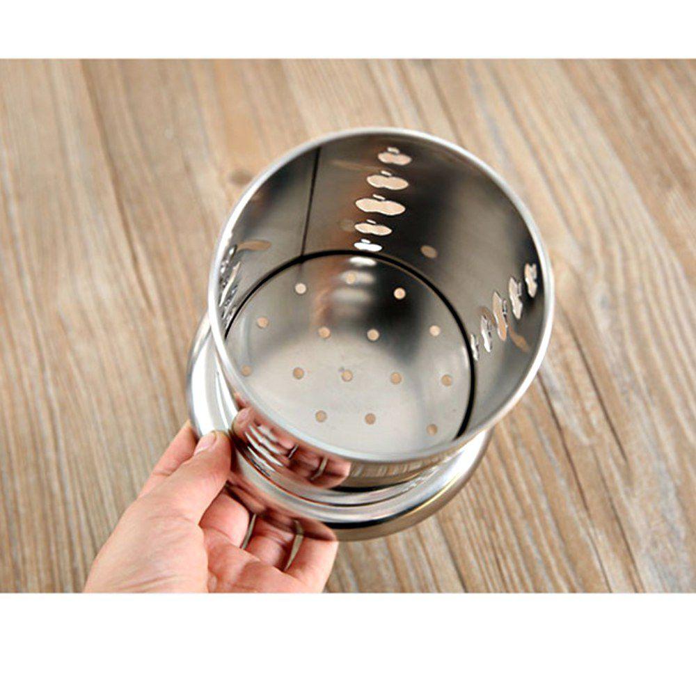 Porta Talheres Escorredor Inox Redondo Vazado Maça Cozinha
