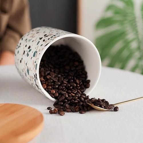Pote De Porcelana Tampa De Bambu Porta Mantimentos 600ML