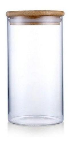 Pote De Vidro Com Tampa De Bambu Para Mantimentos 380ml