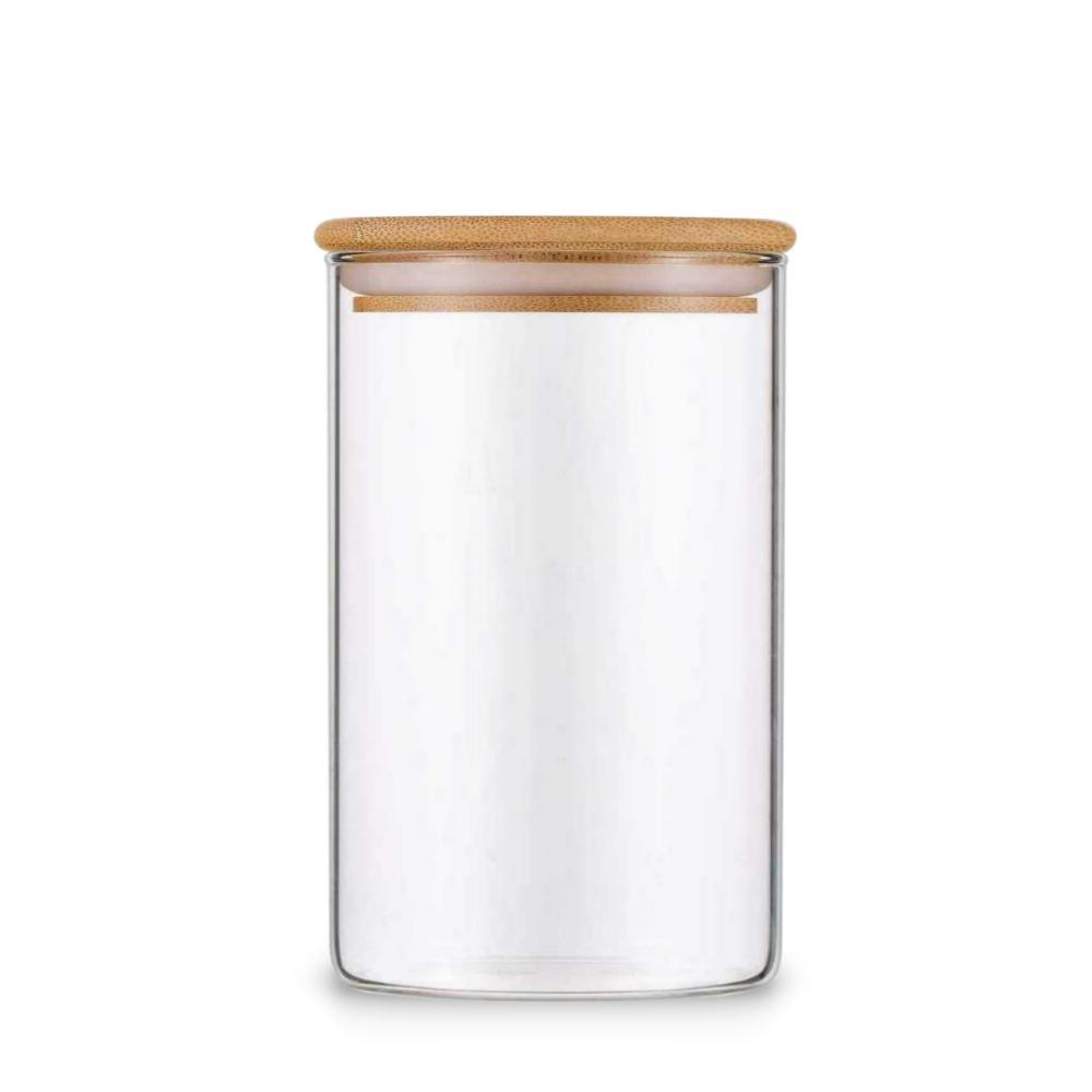 Pote De Vidro Para Mantimentos Com Tampa Bambu 600ML