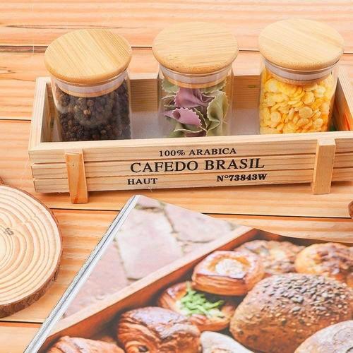 Pote De Vidro Para Mantimentos Com Tampa Bambu Cozinha 250ML