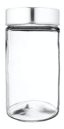 Pote Frasco De Vidro Tampa Alumínio Aço Escovado 600ml