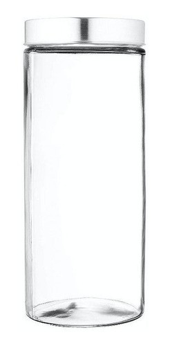 Pote Frasco De Vidro Tampa Alumínio Aço Escovado 800ml