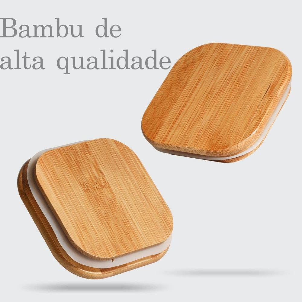 Pote Quadrado Para mantimentos Tampa De Bambu 1400ML