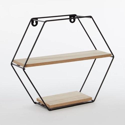 Prateleira Nicho Aramado Hexagonal Decoração Parede 26x29cm