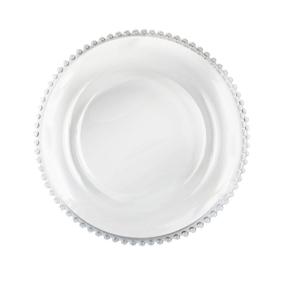 Prato Raso De Cristal Chumbo Pérola Para Sobremesa Bolinha