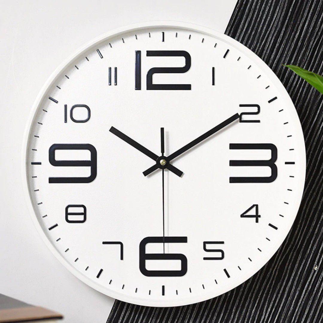 Relogio De Parede Moderno 29cm Branco