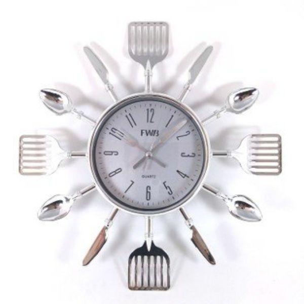 Relógio De Parede Talheres De Cozinha Garfo E Colher Prata