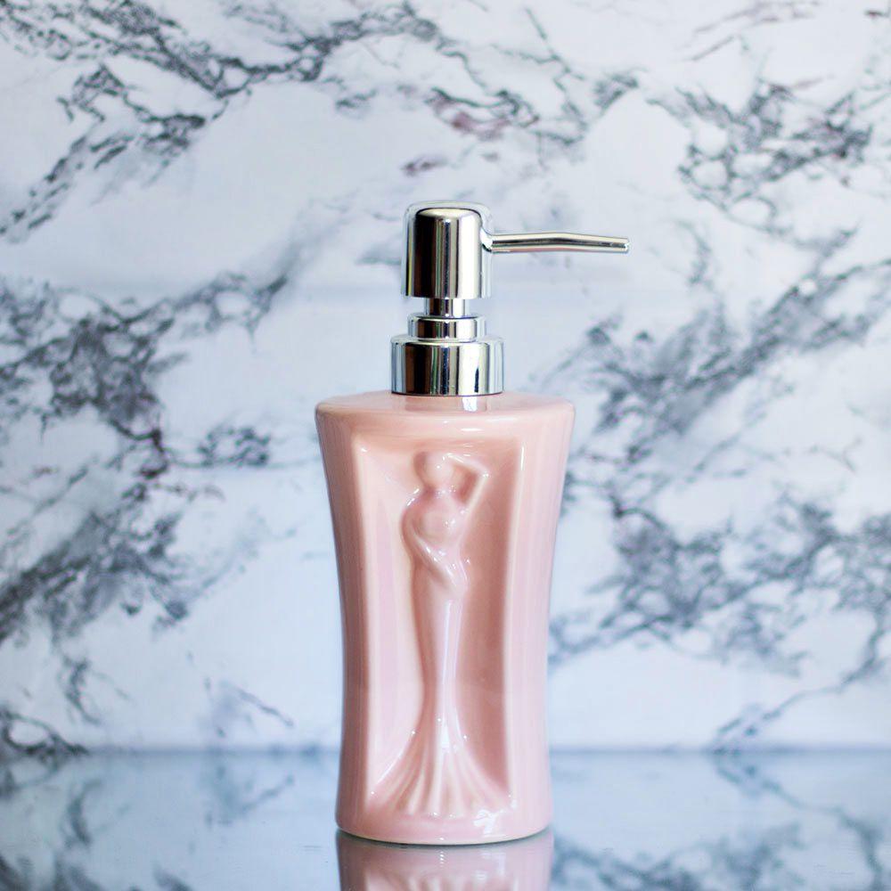 Saboneteira Liquida Para Banheiro De Porcelana Rosa