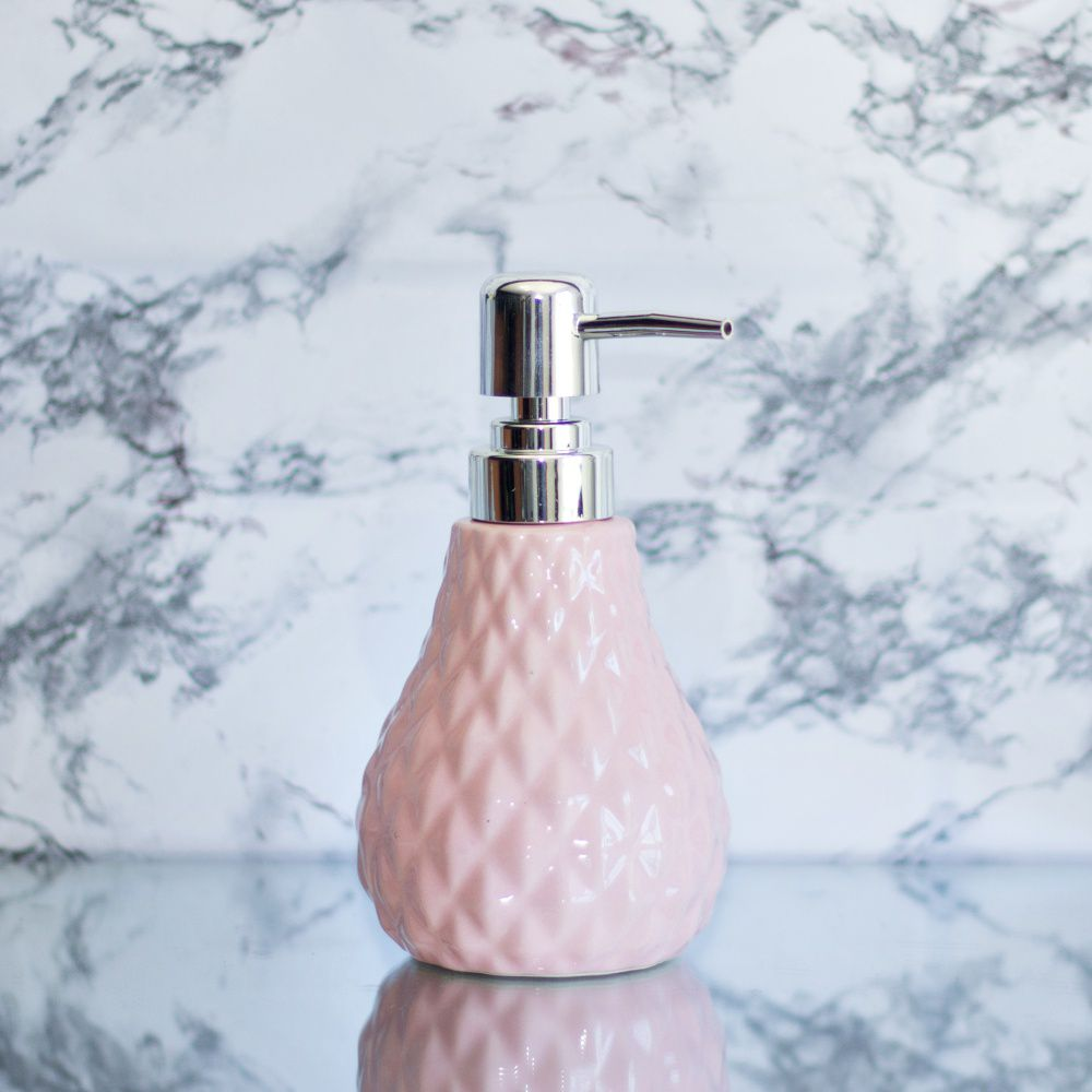 Saboneteira Liquida Para Banheiro Pia De Porcelana Rosa