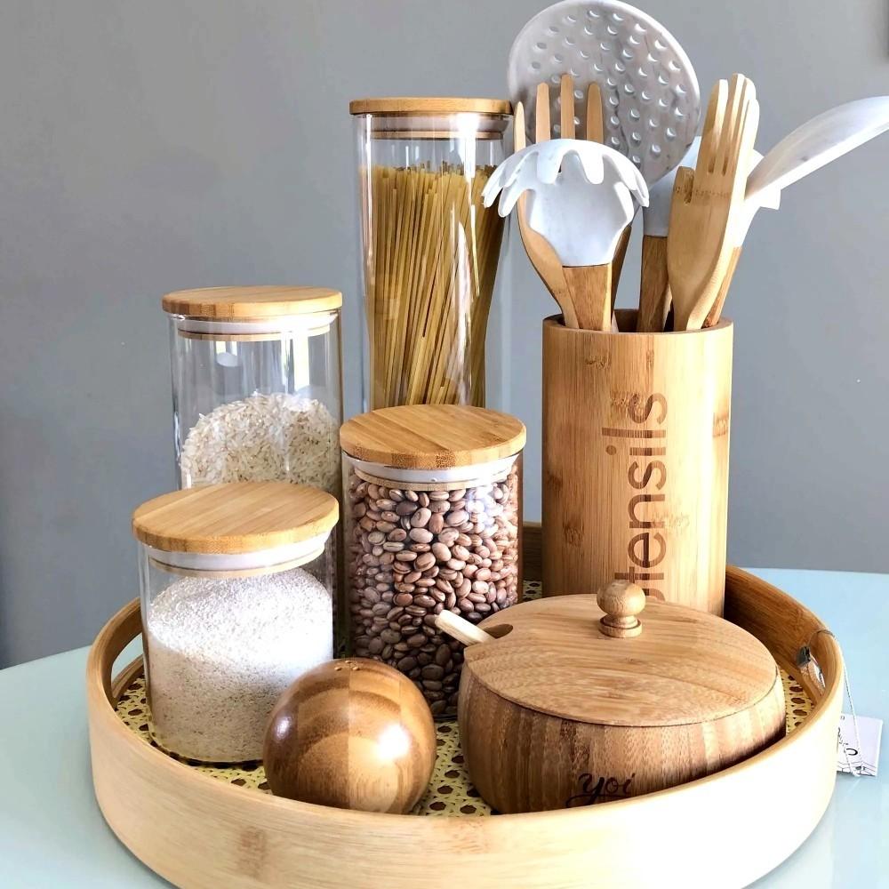 Saleiro E Pimenteiro Esférico De Bambu Para Temperos Cozinha