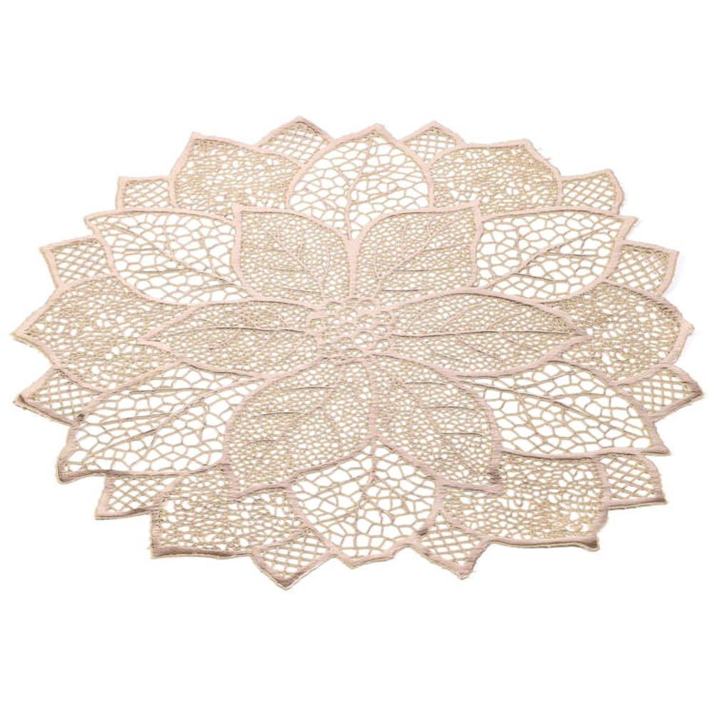Sousplat De Flor Decorativo Luxo Dourado Mesa Prato