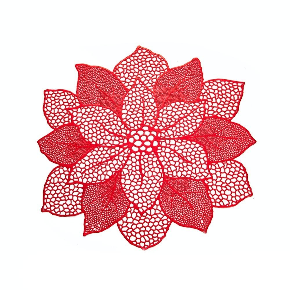 Sousplat De Flor Decorativo Luxo Vermelho Mesa Prato