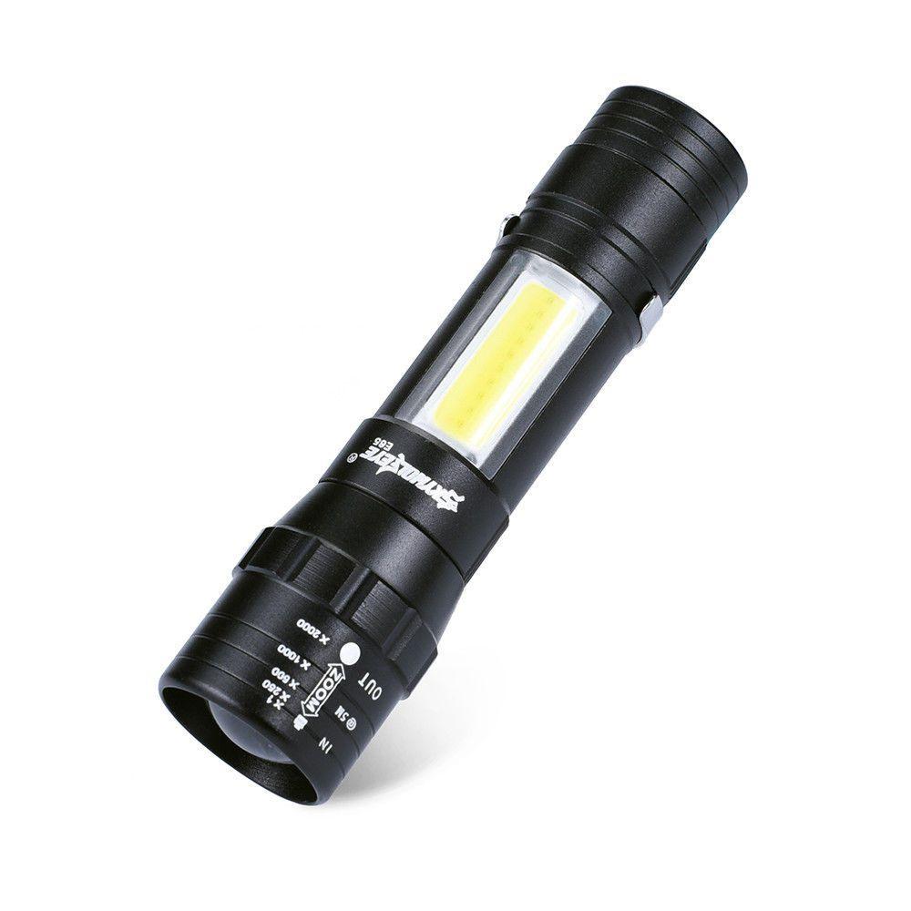 Super Lanterna Tática Com Zoom e Luz Lampião Lateral
