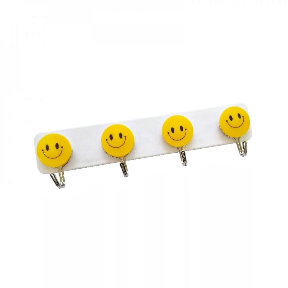 Suporte De Parede Cabide De Porta 4 Ganchos Smile Emoji