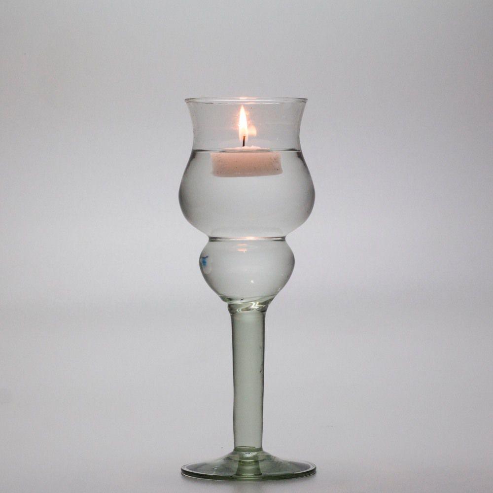 Taça Castiçal Vaso De Vidro Com vela Flutuante Decoração