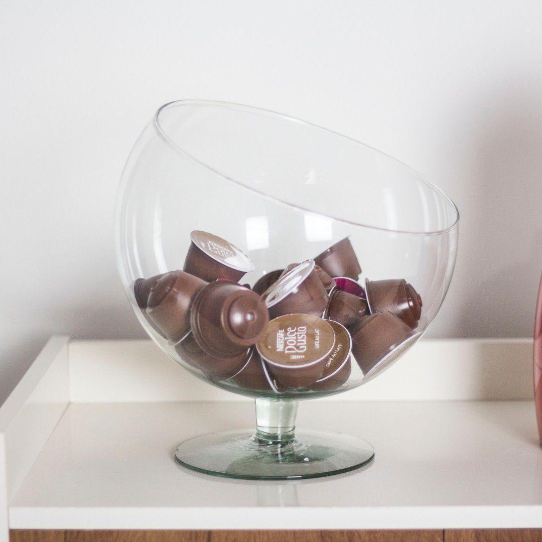 Taça Boca Torta GG Inclinada De Vidro Bomboniere 4 Litros
