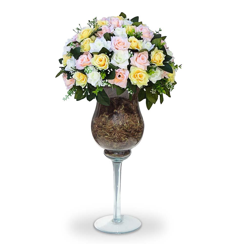 Taça Vaso De Vidro 50cm Napoli Decoração Casamento Mesa