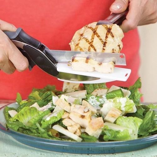 Tesoura Fatiadora Cortadora De Alimentos Legumes Com Base