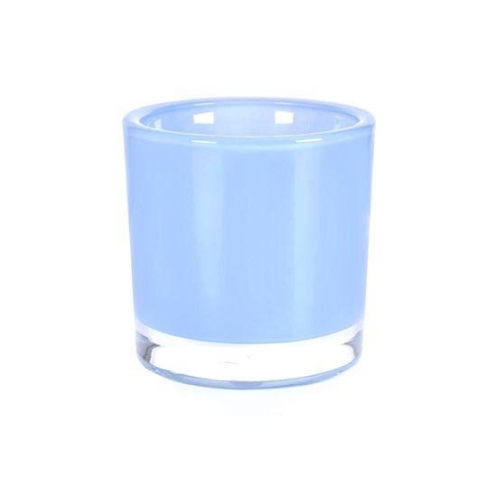 Vaso De Vidro Castiçal Porta Velas 12Cm Azul Claro