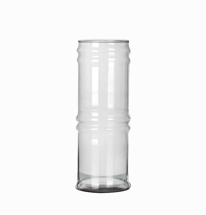 Vaso De Vidro Em Formato De Bambu 34cm Altura Decoração