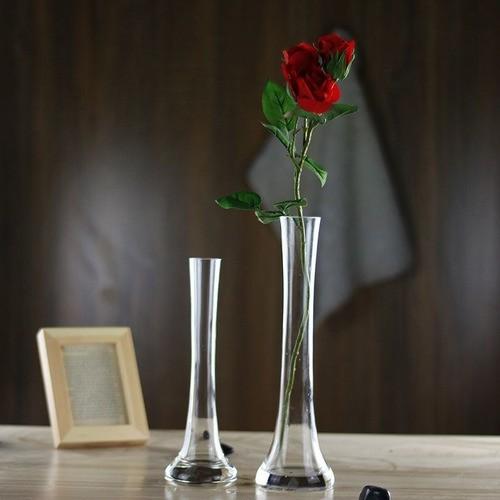 Vaso De Vidro Solitário Flores Arranjo Decoração 30cm