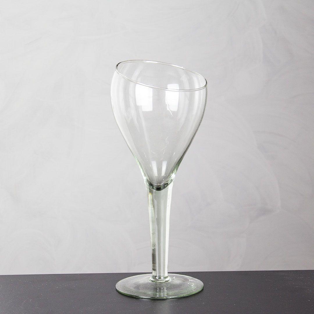 Vaso de Vidro Taça Boca Torta Alta Com 30cm