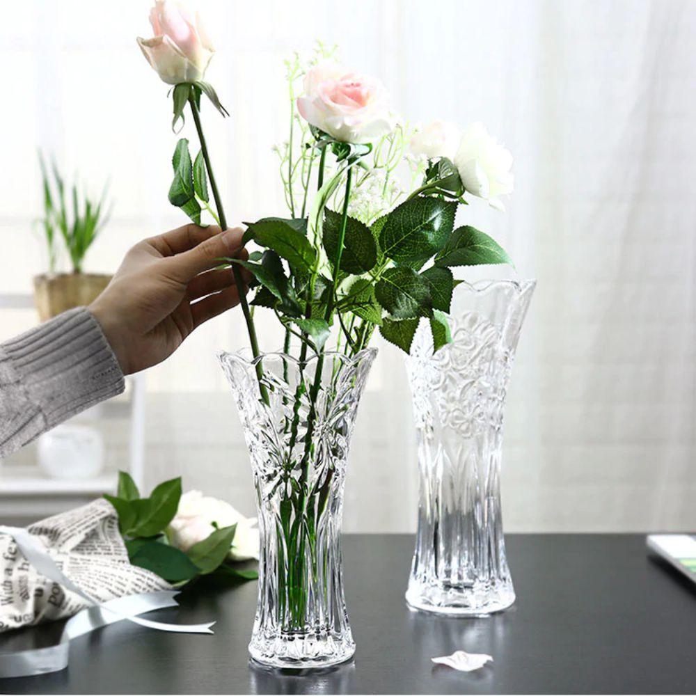 Vaso De Vidro Trabalhado Solitário 25cm Arranjos Flores