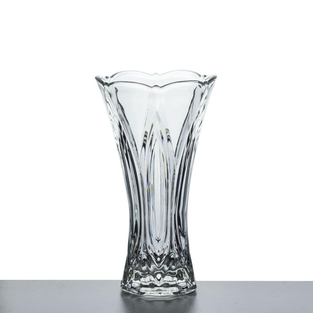 Vaso De Vidro Trabalhado Solitário 25cm Para Arranjos Flores