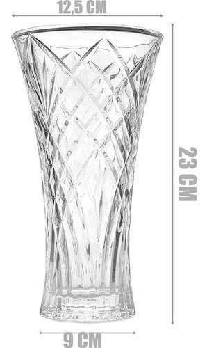 Vaso Decorativo De Vidro 23Cm Para Arranjos Flores