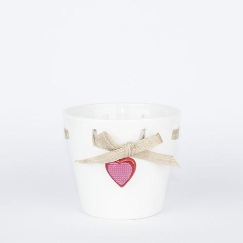 Vaso Decorativo Em Cerâmica Com Pingente De Coração