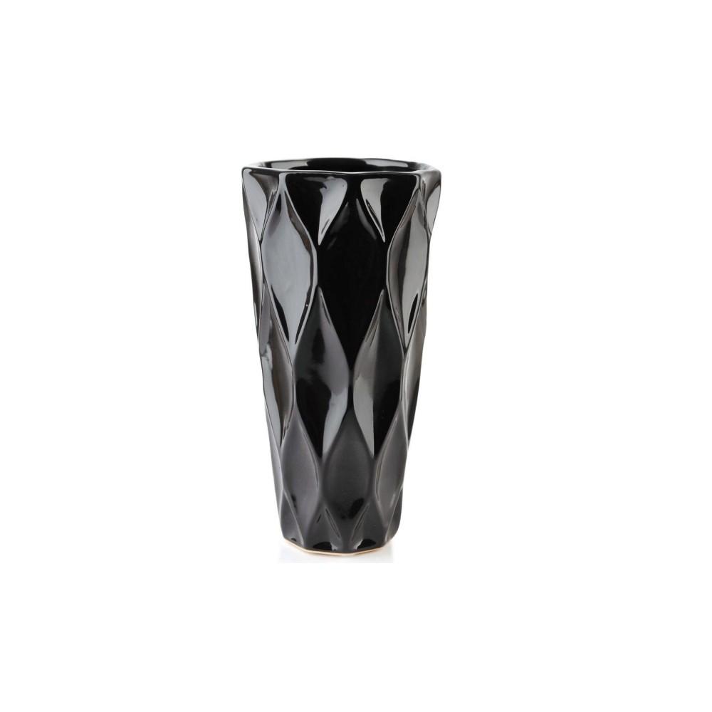 Vaso Preto Em Cerâmica Para Ornamentação Suculenta Jardim