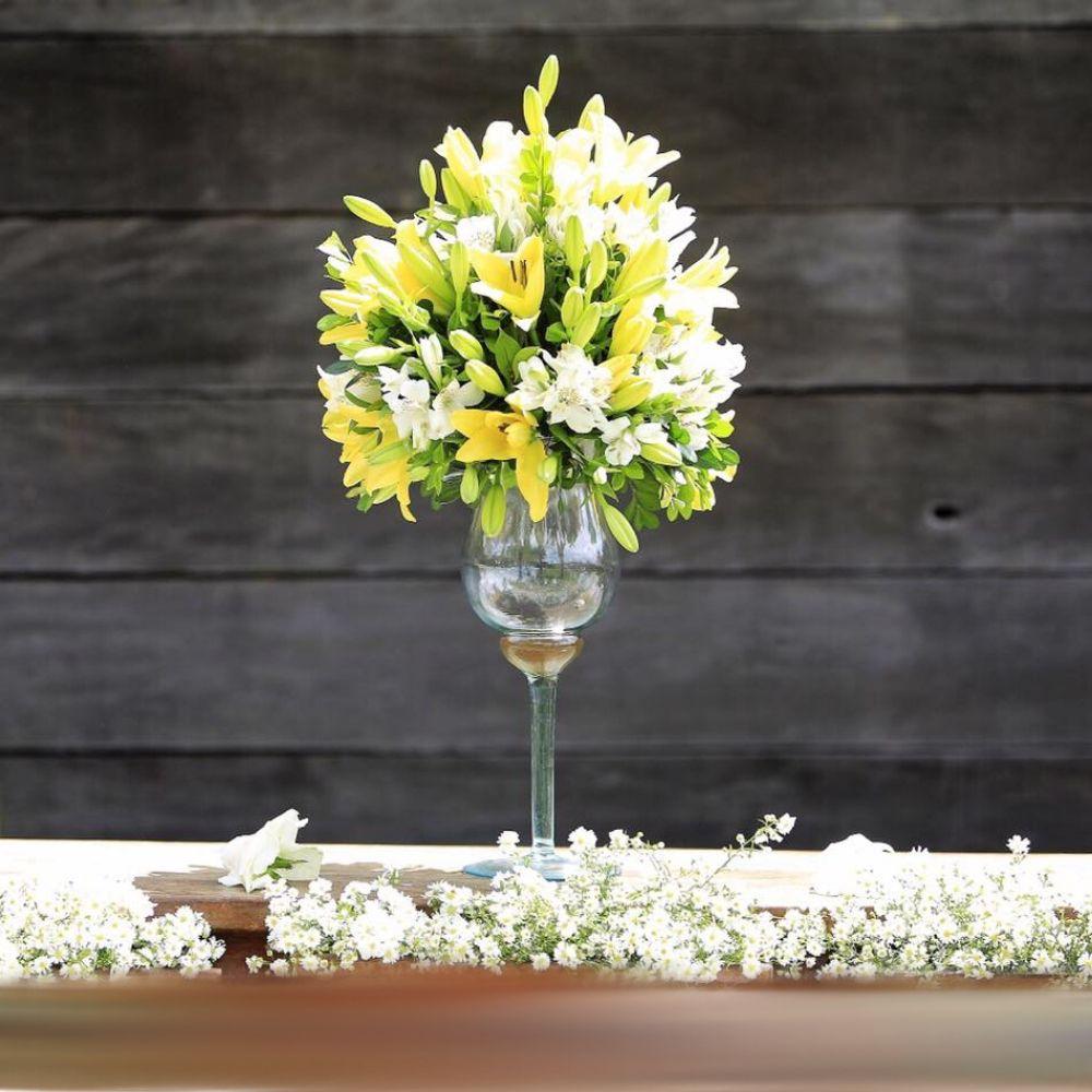 Vaso Taça 35cm Em Vidro Napoli Decoração Casamento