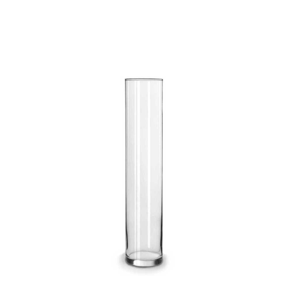 Vaso Tubo Copo Cilindro Solitário De Vidro 25x5cm