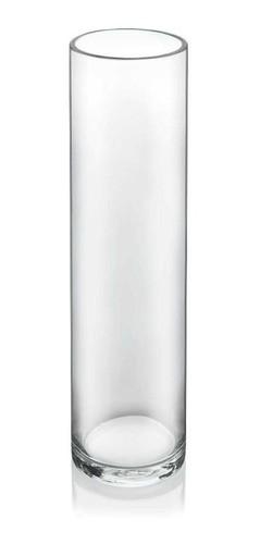 Vaso Tubo Copo Cilindro Solitário De Vidro 30x6cm