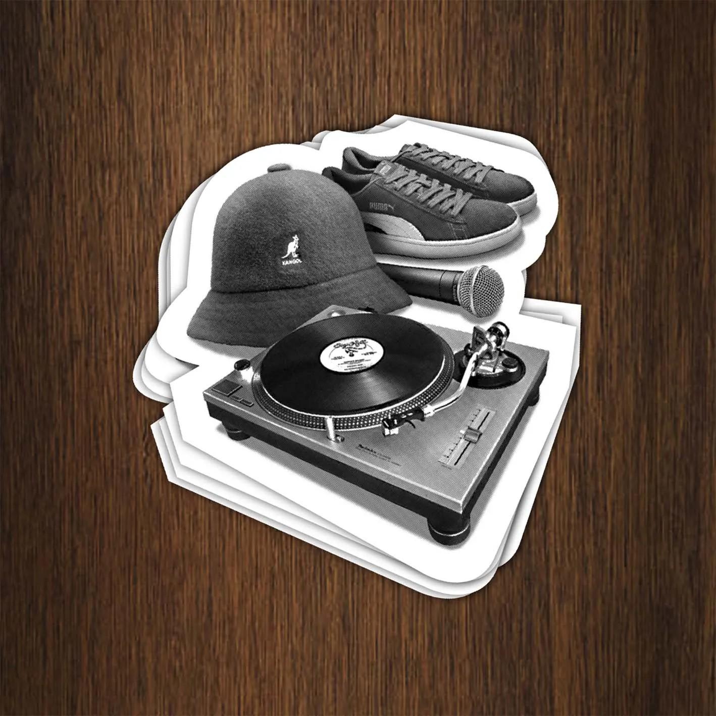 Adesivo 7x7,5cm -  Hip Hop Elements