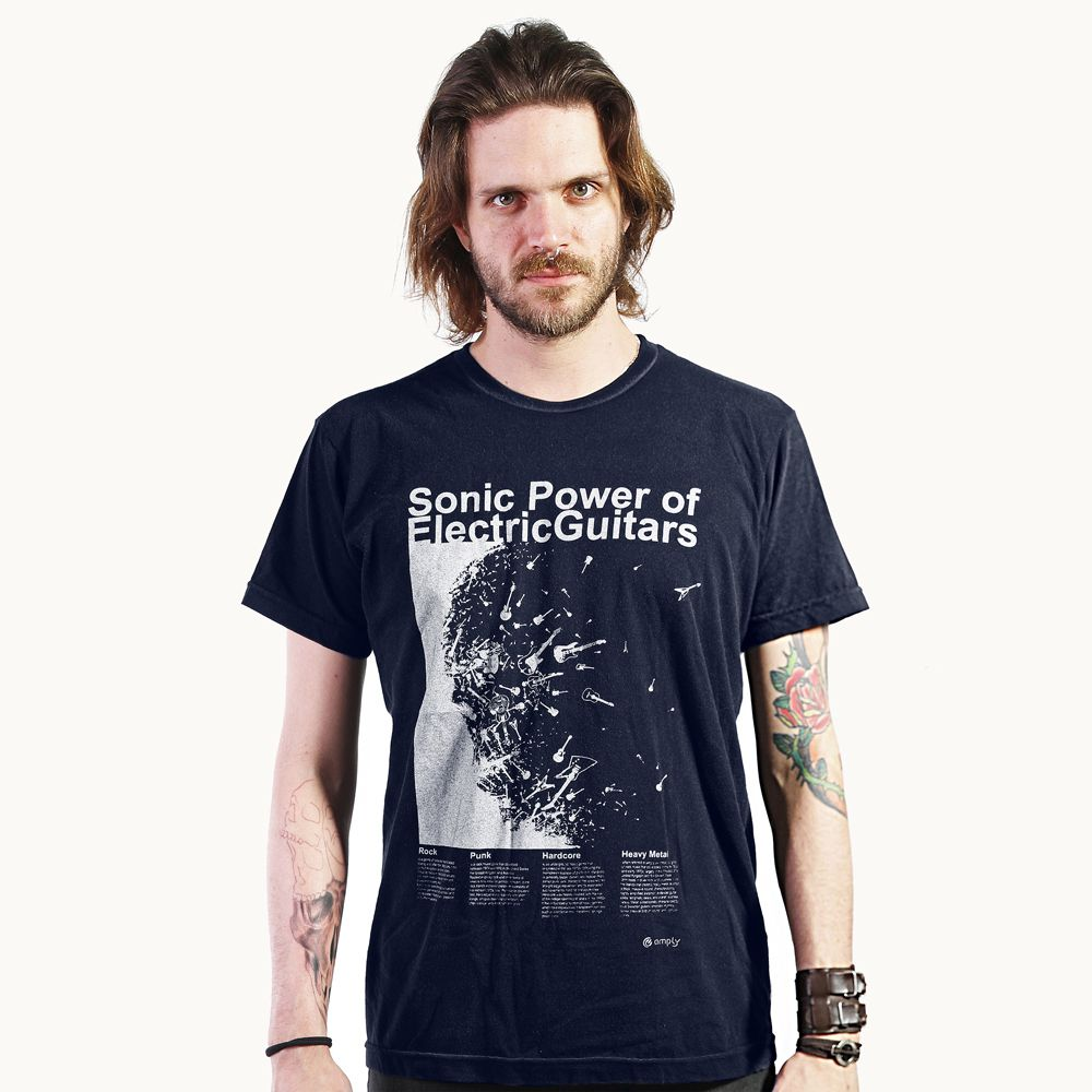 Camiseta Electric Guitars Azul Marinho
