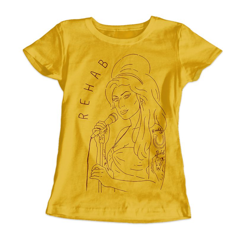 Camiseta Feminina Amy Winehouse Amarela