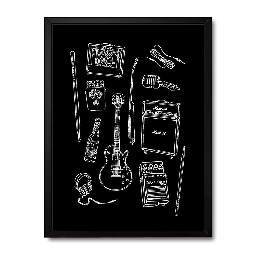 Poster/Quadro Rock Instruments Preto